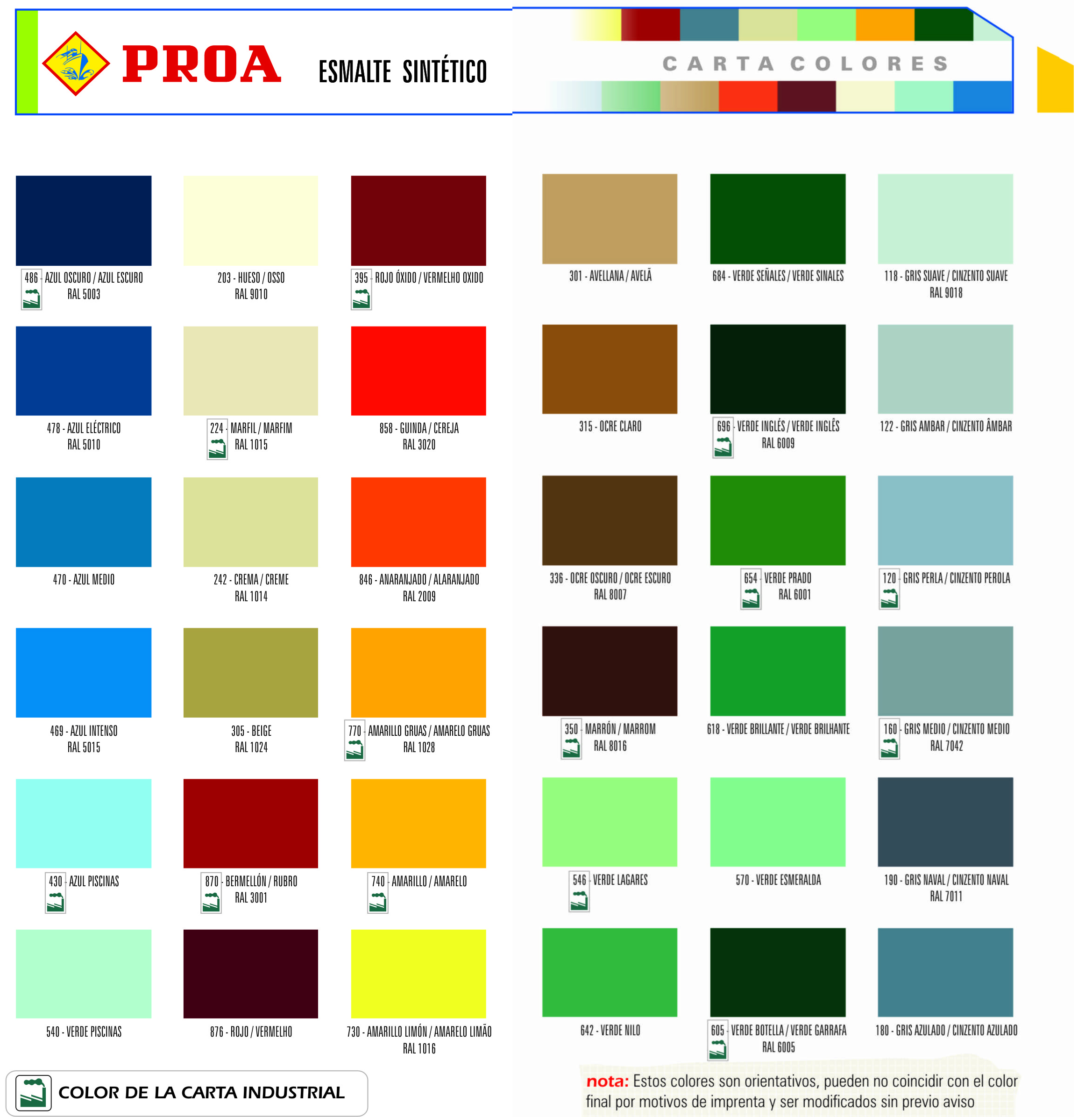 Pinturas colores proa for Catalogo colores pintura pared